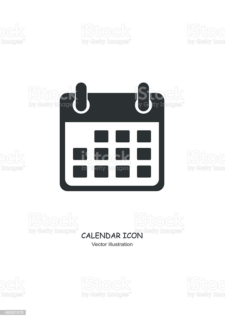 Calendar icon in Flat design style. Vector royalty-free stock vector art