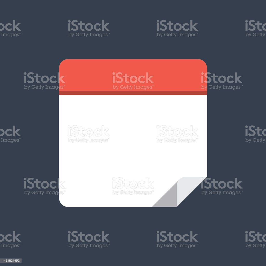 Calendar icon, modern minimal flat design style. Blank calendar vector art illustration