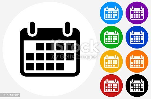 Calendar Icon on Flat Color Circle Buttons. This 100% royalty free vector illustration features the main icon pictured in black inside a white circle. The alternative color options in blue, green, yellow, red, purple, indigo, orange and black are on the right of the icon and are arranged in two vertical columns.