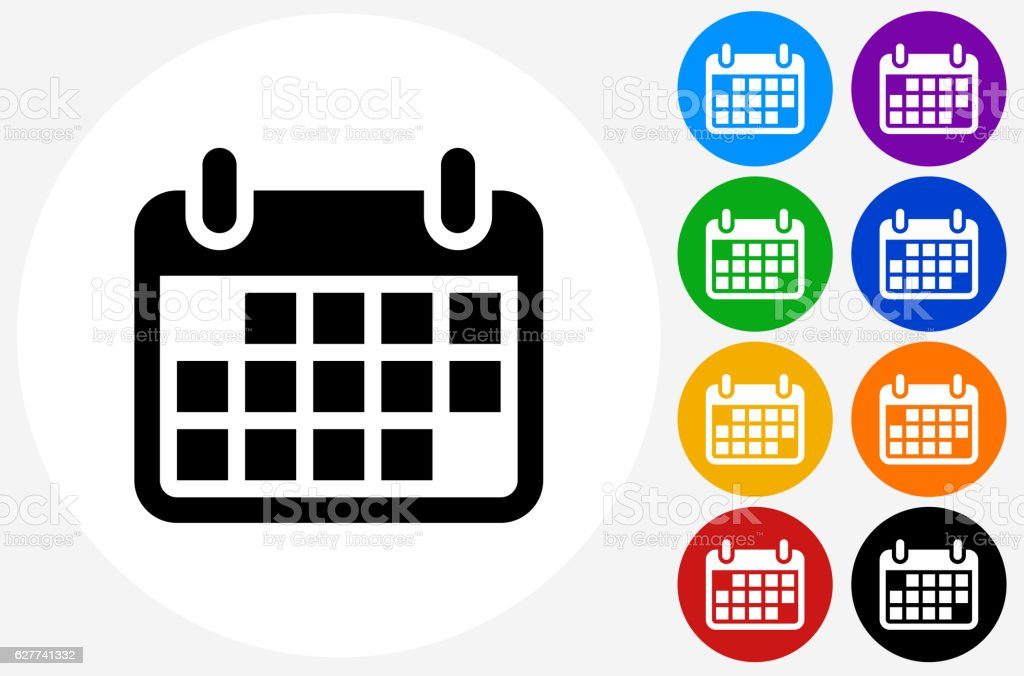 Calendar Icon on Flat Color Circle Buttons - ilustración de arte vectorial