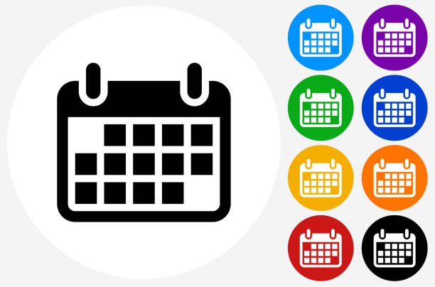 Calendar Icon on Flat Color Circle Buttons - Illustration vectorielle