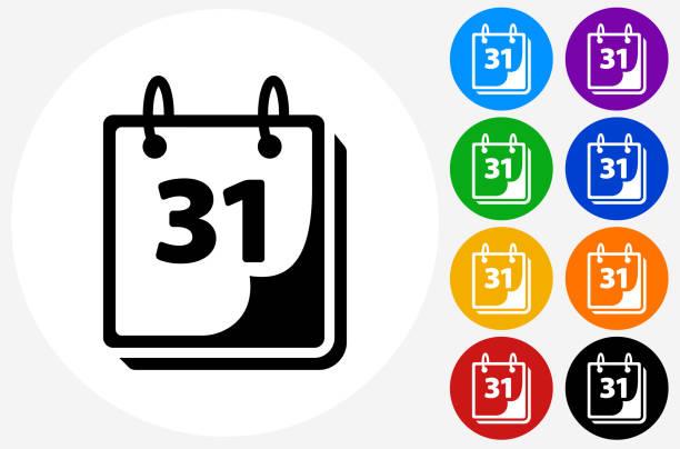 calendar icon on flat color circle buttons - monatskalender stock-grafiken, -clipart, -cartoons und -symbole