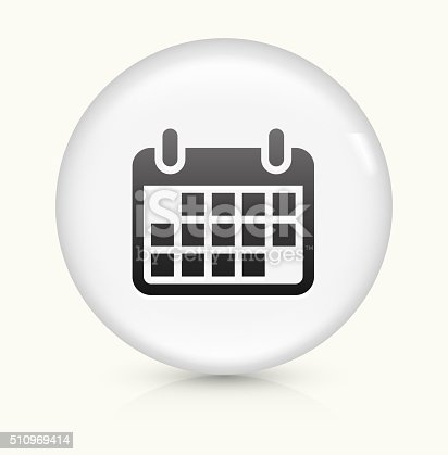 Calendar Icon on simple white round button. This 100% royalty free vector button is circular in shape and the icon is the primary subject of the composition. There is a slight reflection visible at the bottom.