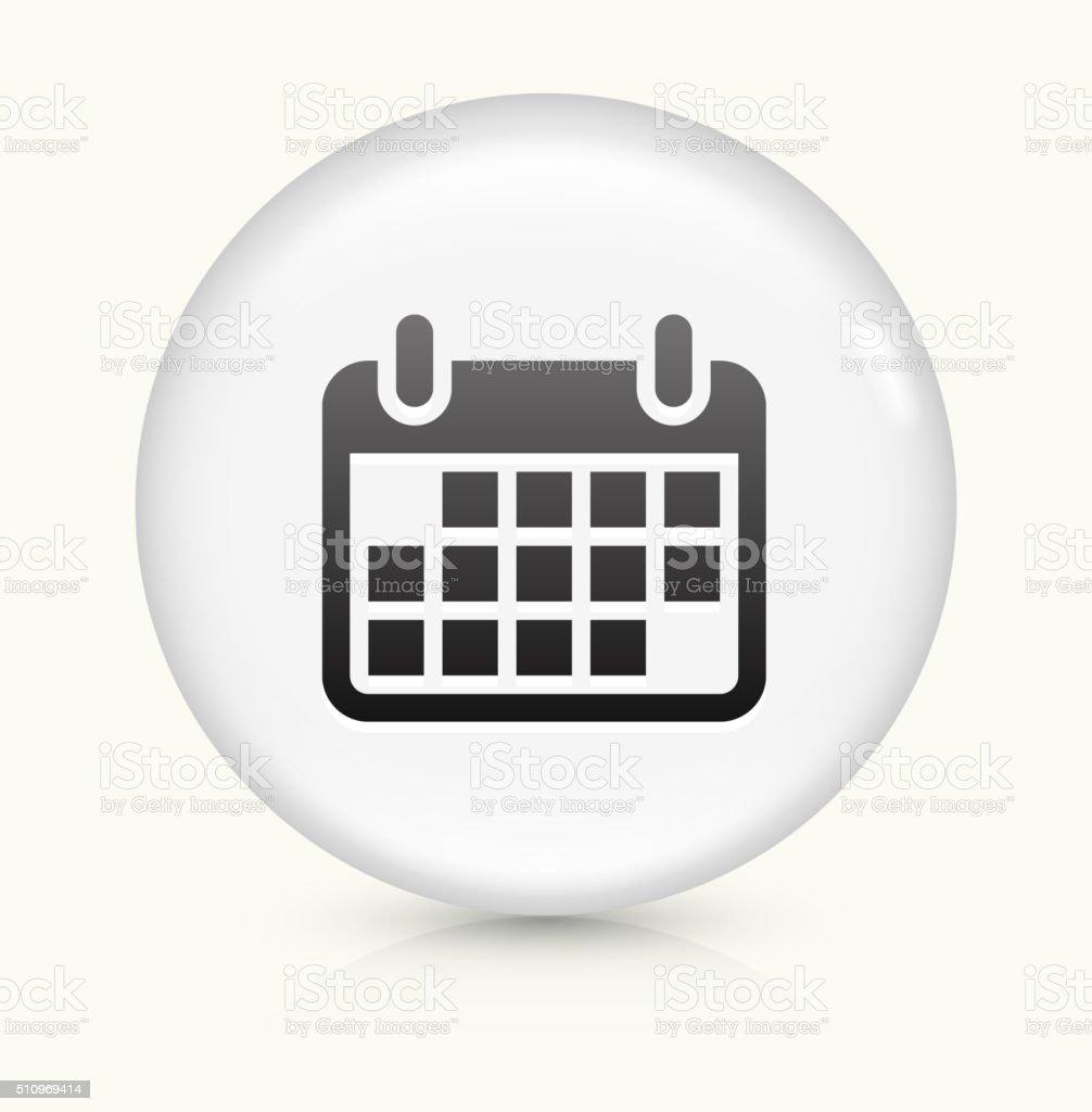 Calendrier de l'icône sur blanc vecteur rond bouton - Illustration vectorielle