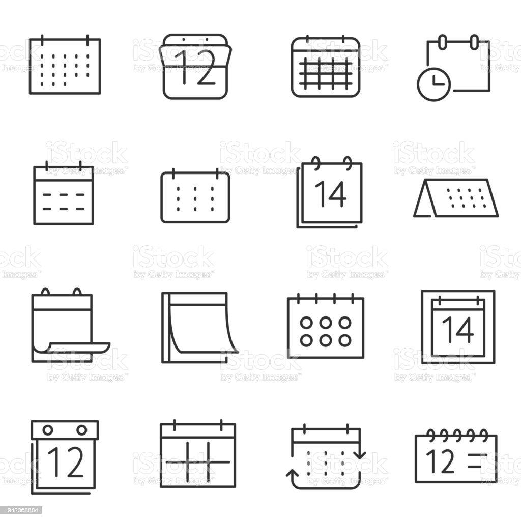 Calendar icon set. Line with Editable stroke - Royalty-free Abstract stock vector