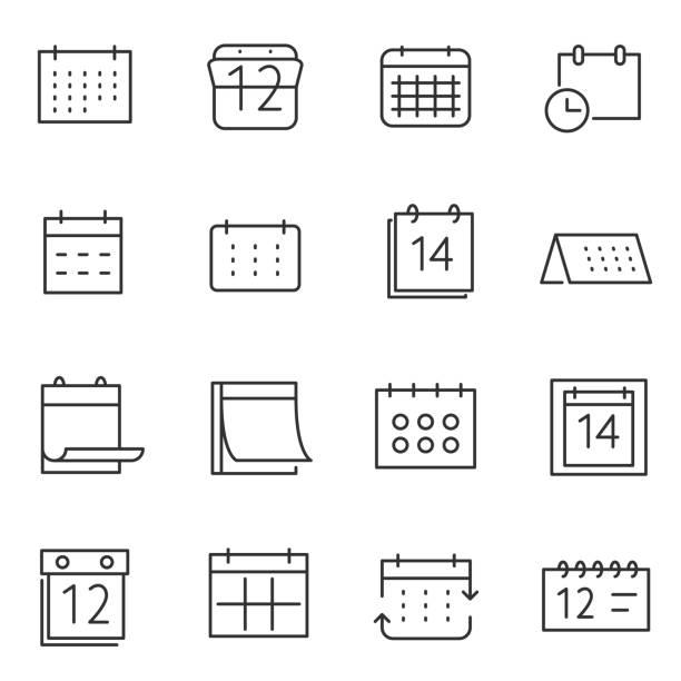 kalender-icon-set. linie mit editierbaren schlaganfall - monatskalender stock-grafiken, -clipart, -cartoons und -symbole