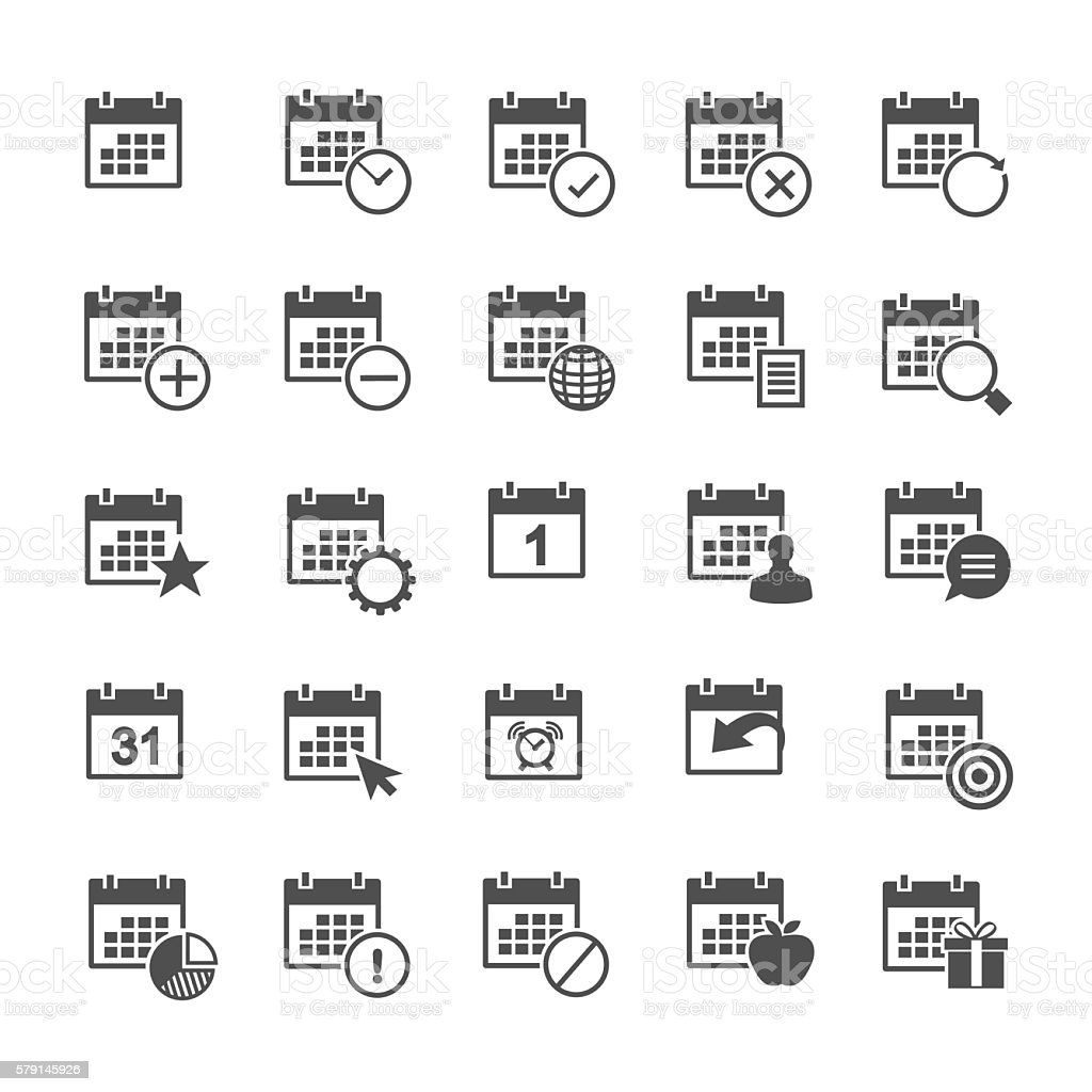 Calendar icon set vector art illustration