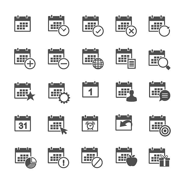 calendar icon set - yıllık olay stock illustrations