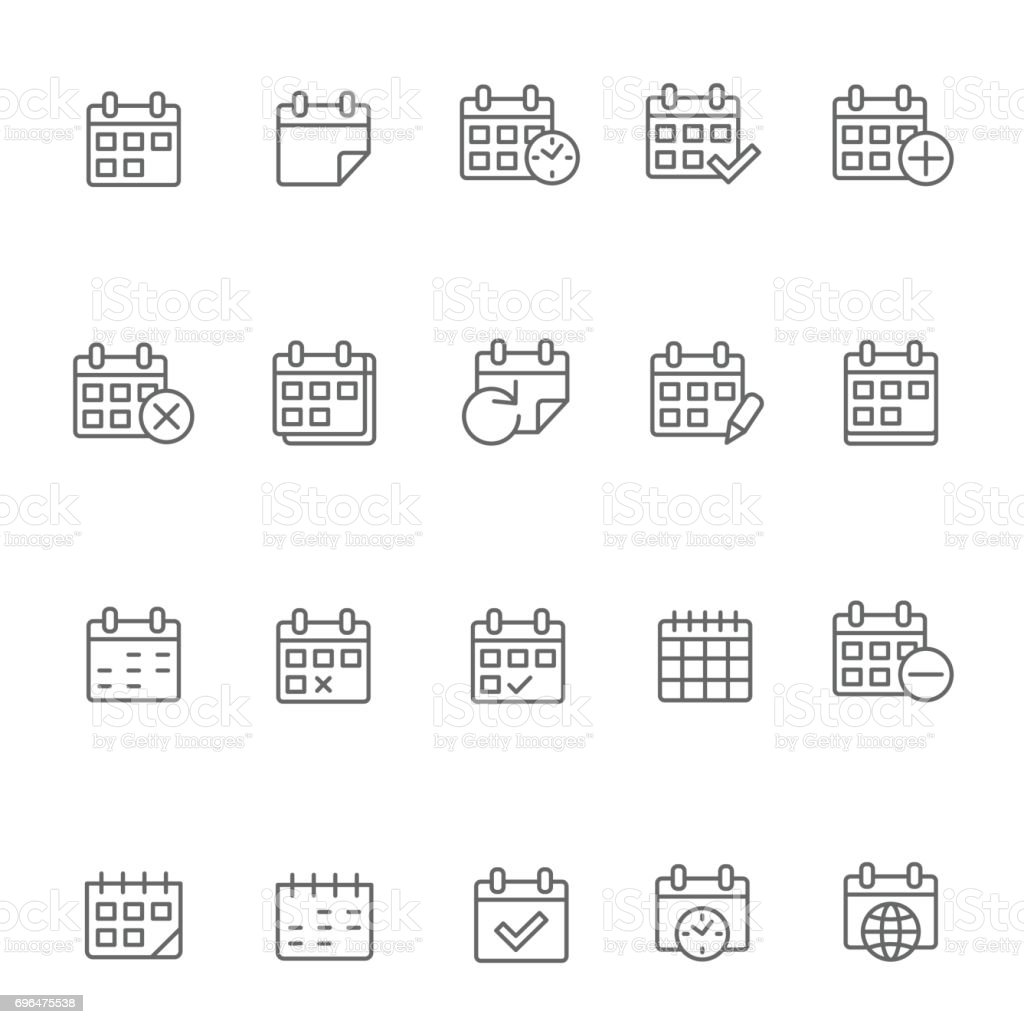 Calendar icon set vector art illustration