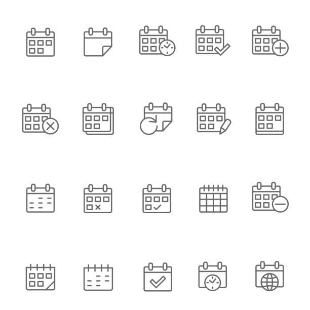 kalender-symbol set - monatskalender stock-grafiken, -clipart, -cartoons und -symbole
