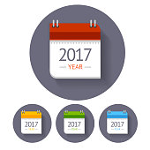 2017 Calendar Icon Set in Flat Gray Round Button for Reminders, Business. Vector illustration