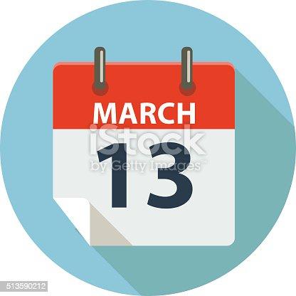 istock MARCH 13 Calendar Icon 513590212