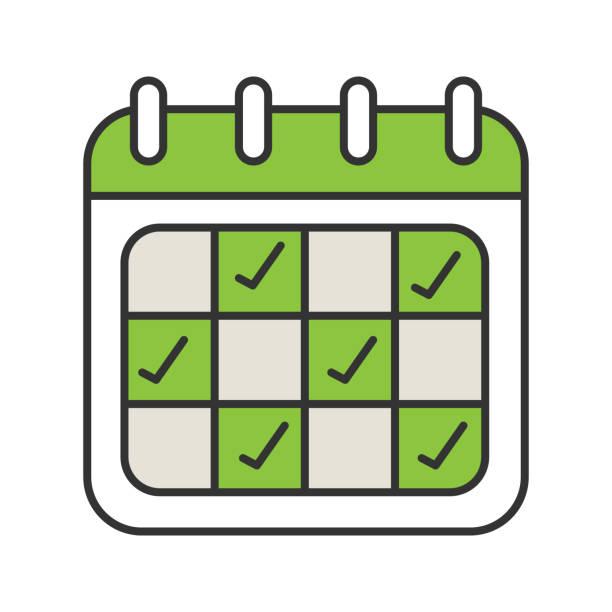 カレンダーのアイコン - トレーニングのカレンダー点のイラスト素材/クリップアート素材/マンガ素材/アイコン素材