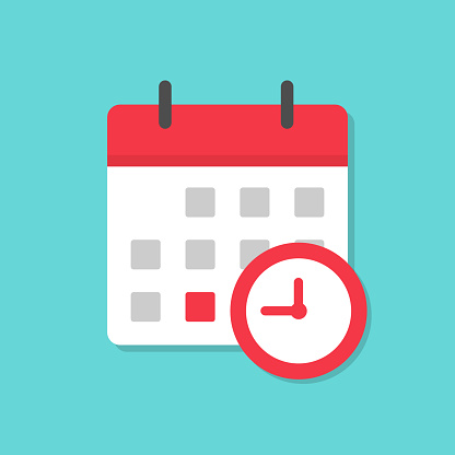 Calendar icon with clock icon