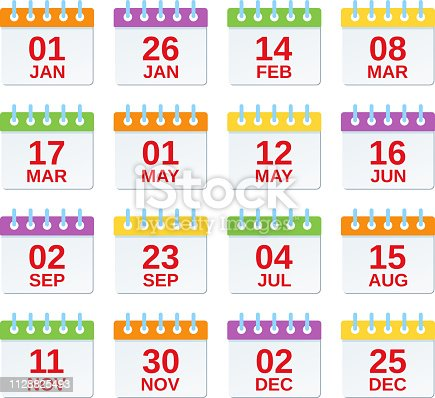 Calendar icon with dates. Vector. Set of annual appointments, yearly events template in flat design. Calendar organizer symbols isolated on white background. Color illustration. Computer graphic.