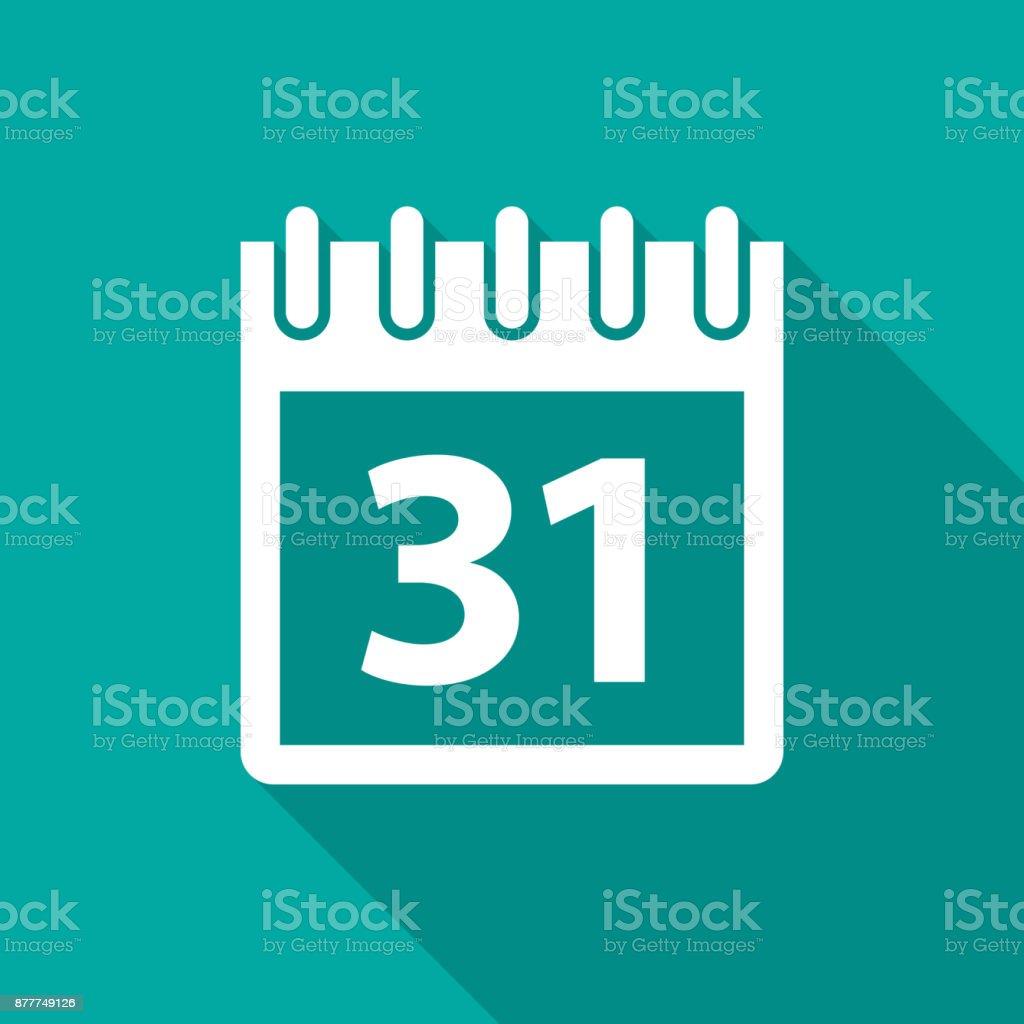 Calendar icon with long shadow. Flat design style. vector art illustration