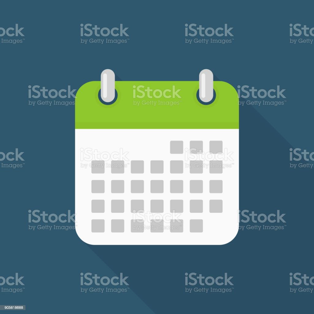Calendar icon with long shadow on blue background, flat design style vector art illustration
