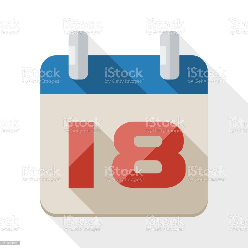 Kalender-Symbol mit langen Schatten auf Weiß – Vektorgrafik