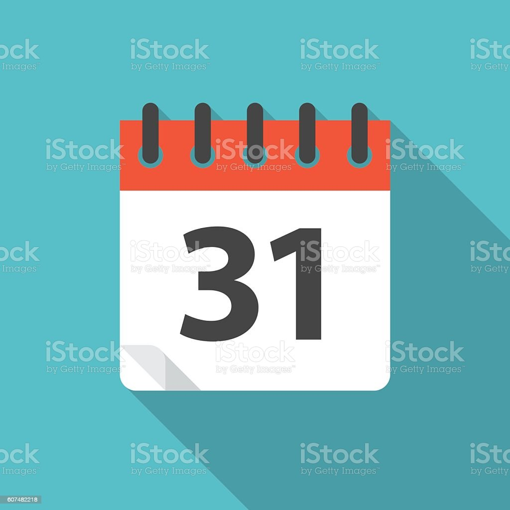 Calendar icon with long shadow. vector art illustration