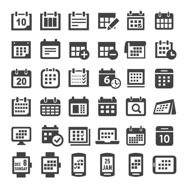 calendar icons - big series - calendar stock illustrations, clip art, cartoons, & icons