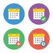 Calendar Icons Flat Vector Set. Time and Seasons Simple Signs. Vector Symbols of Organizer, Calender, Week, Months, Year, Date Pictogram Color Icons