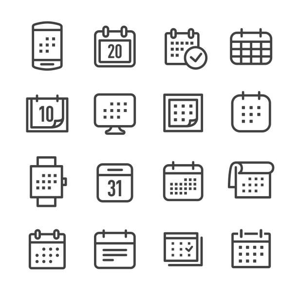 calendar icons - line series - calendar stock illustrations, clip art, cartoons, & icons