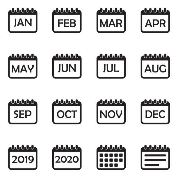 Calendar Icons. Set 2. Black Flat Design. Vector Illustration. Day, Week, Month, Year month stock illustrations