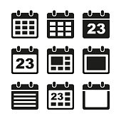 Day calendar elements icons set. Vector. EPS8.