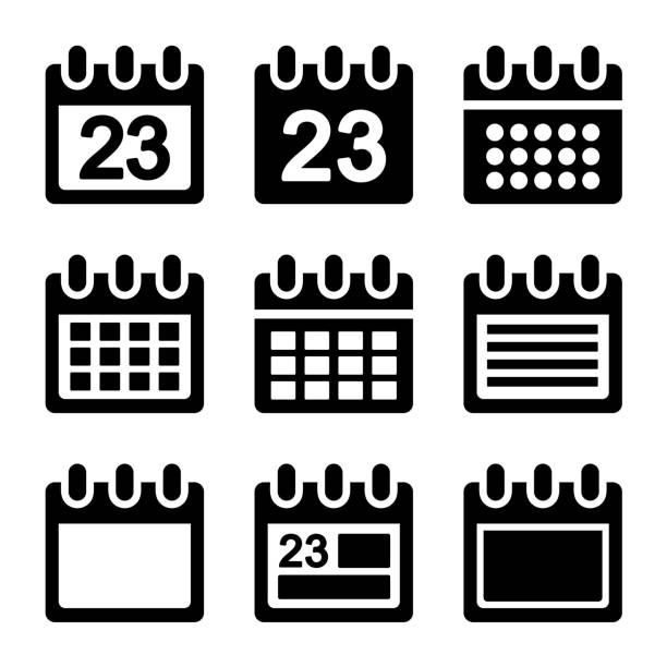 calendar icons set. - birds calendar stock illustrations, clip art, cartoons, & icons