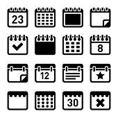Calendar Icons Set on White Background. Vector