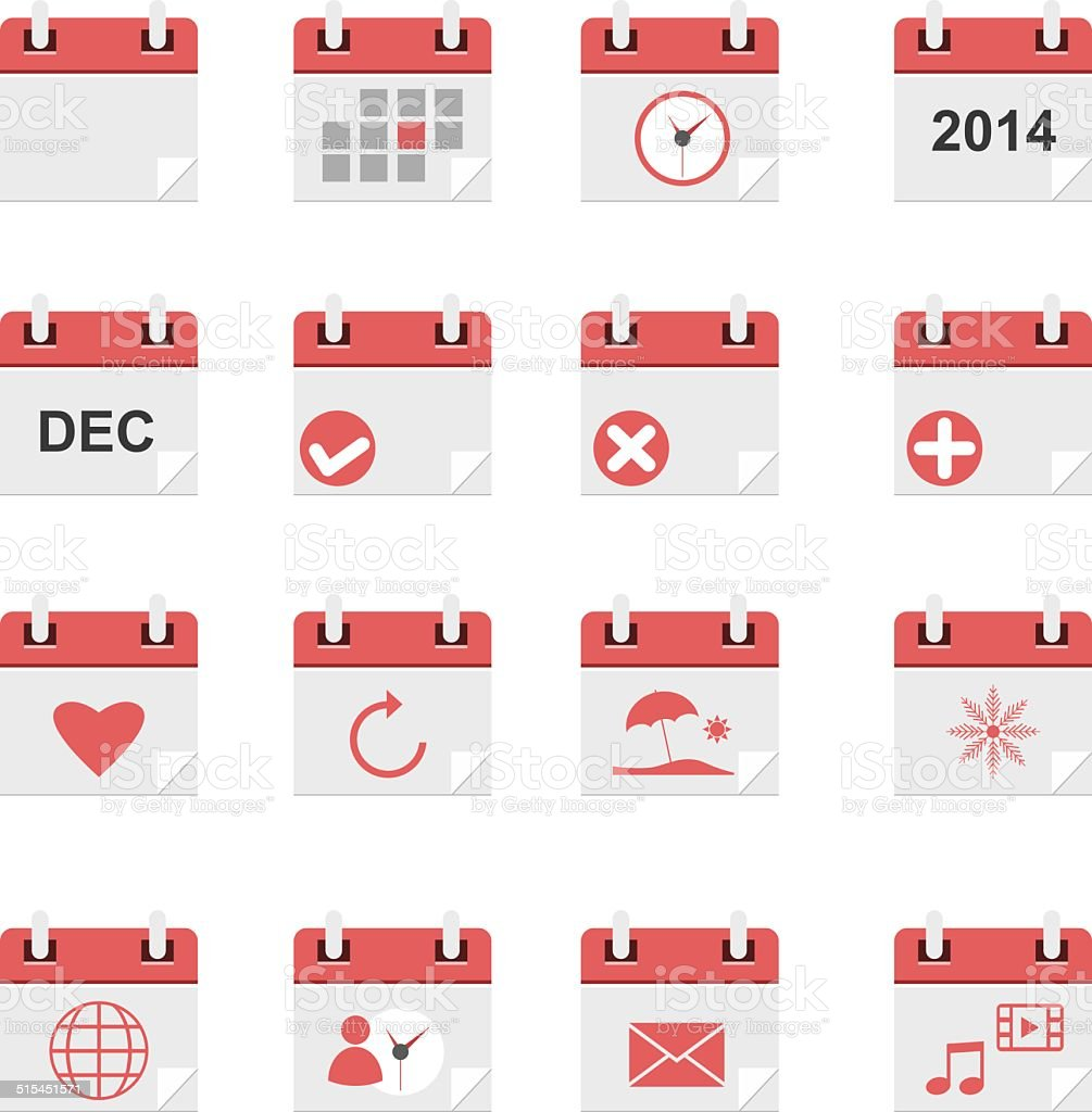 Calendar icons set vector art illustration