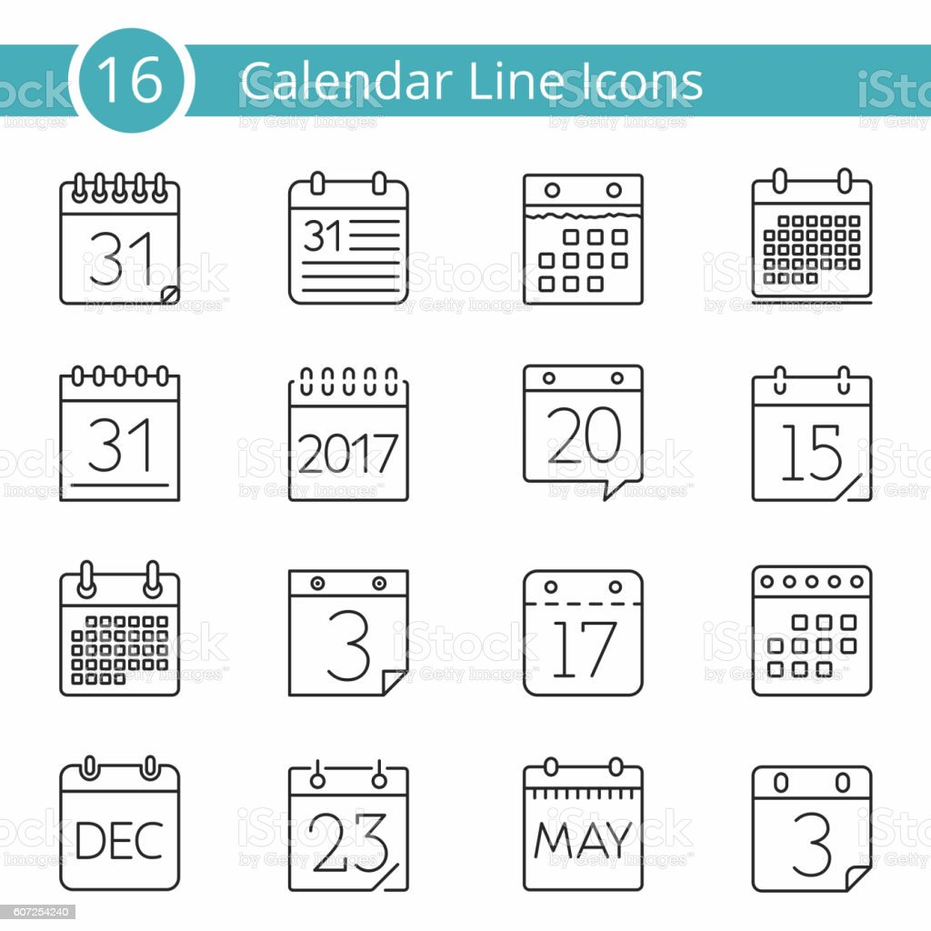 16 Calendar Icons vector art illustration