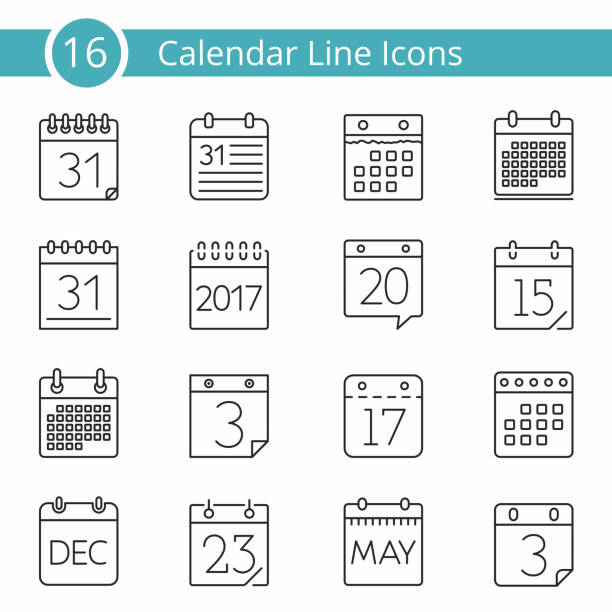 16 calendar icons - 주 stock illustrations