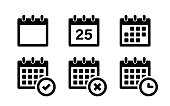 istock Calendar icons. Vector isolated elements. Callendar vector symbol. Stock vector. 1268794170