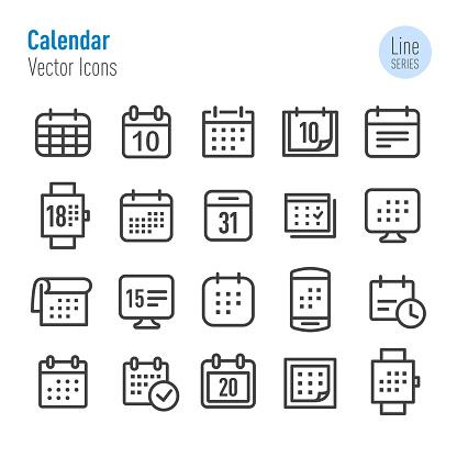 Calendar Icons - Vector Line Series