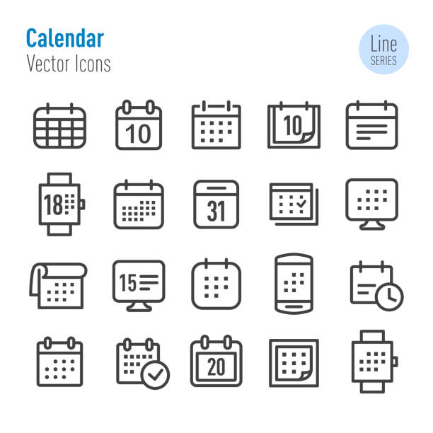Calendar Icons - Vector Line Series Calendar, agenda stock illustrations
