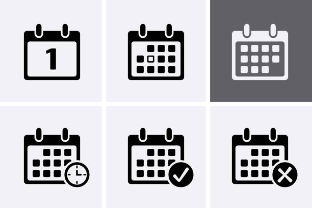 illustrazioni stock, clip art, cartoni animati e icone di tendenza di calendar icons vector. - project