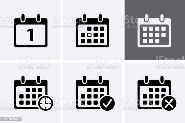 Kalender Iconen Vector Stockvectorkunst en meer beelden van Applicatie