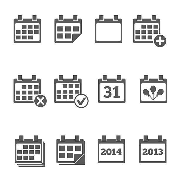 stockillustraties, clipart, cartoons en iconen met calendar icons with different dates and years - date