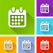 calendar icons with long shadow