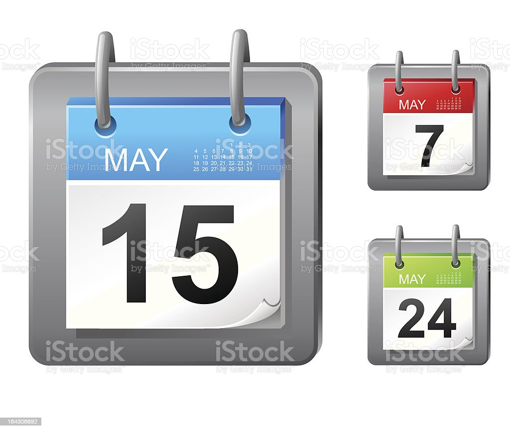 Calendar icons with multiple dates in May vector art illustration