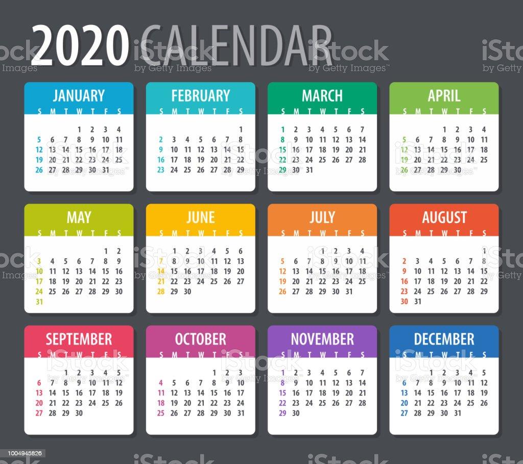 Calendrier 2020 Vectoriel Gratuit.Calendrier 2020 Illustration Modele Maquette Vecteurs Libres