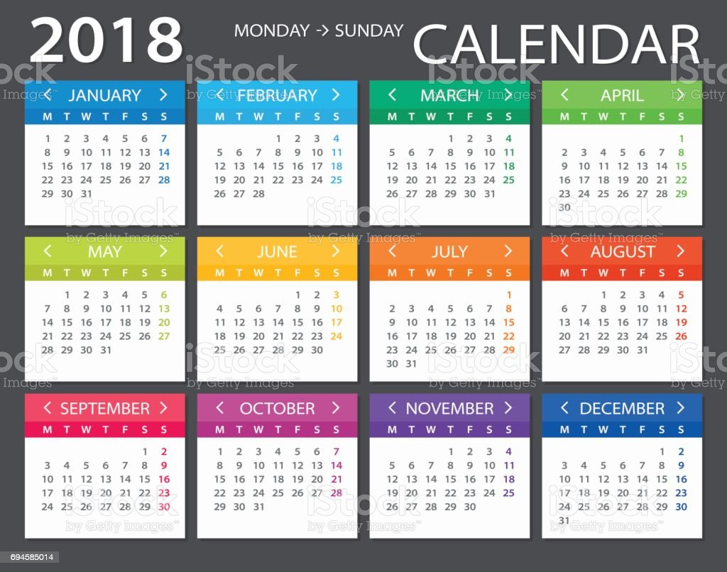 2018 Calendar - illustration vector art illustration