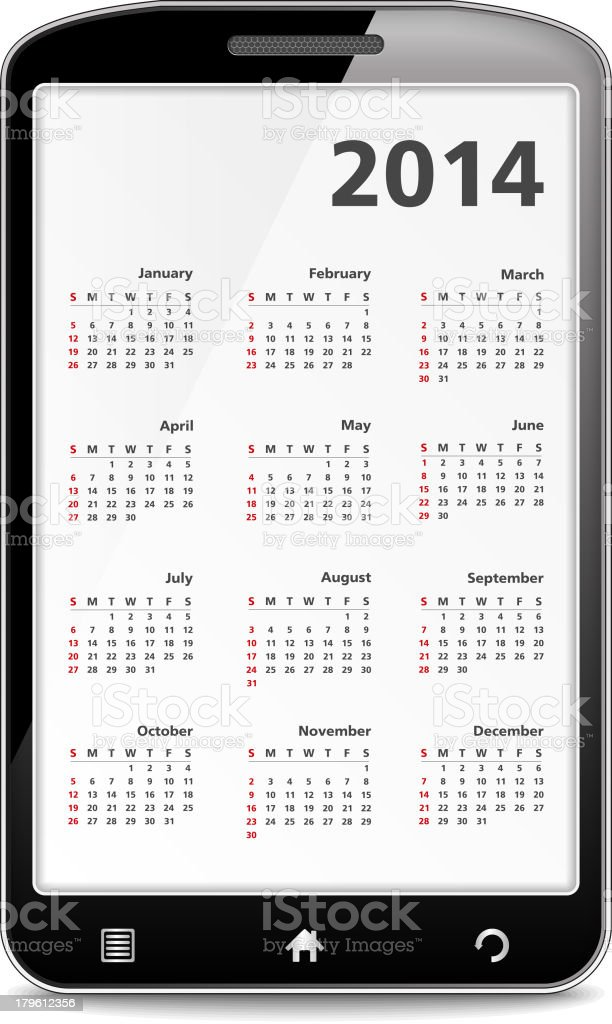 Calendar in Mobile Phone royalty-free calendar in mobile phone stock vector art & more images of 2014