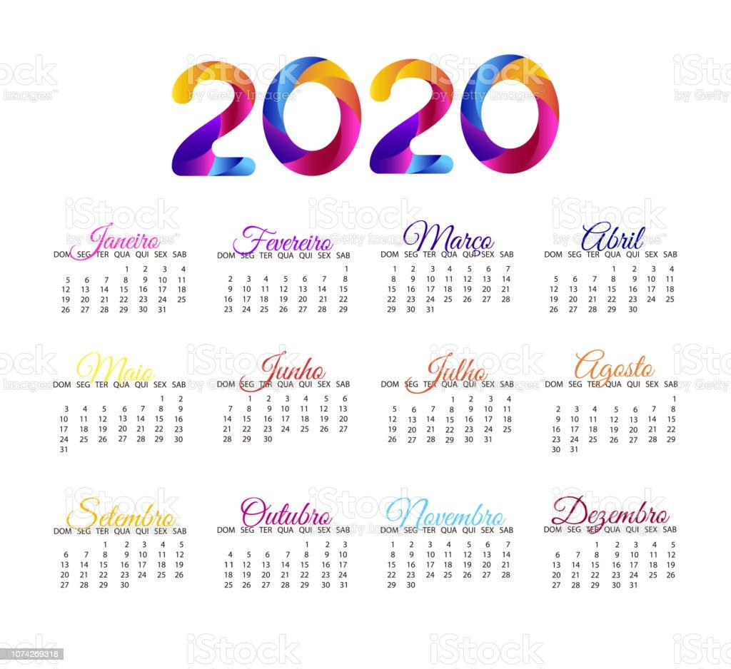Vector De Calendario 2020.2020 Calendar In Portuguese Vector Annual Calendar Layout