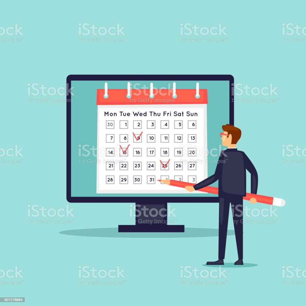 Kalender in den Computer Geschäftsmann stellt das Datum. Flaches Design-Vektor-Illustration. – Vektorgrafik