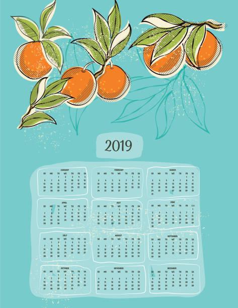 ビンテージ スタイルの 2019年カレンダー ベクターアートイラスト
