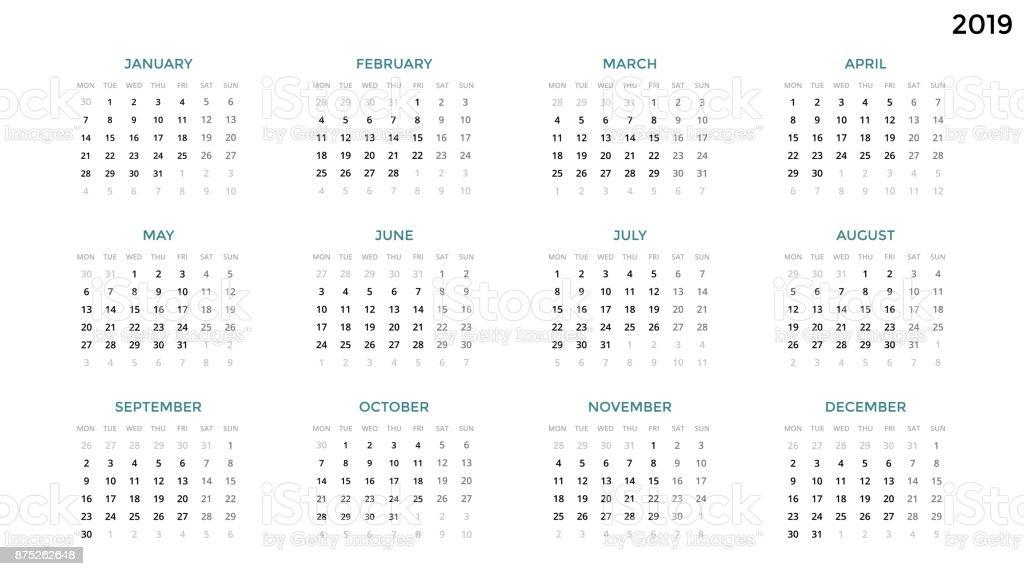 Ilustración de Infografía De Calendario Tabla Tabla Carta De ...