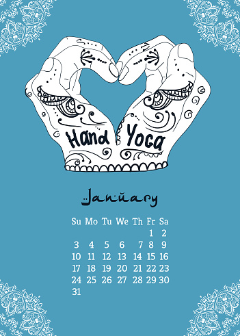 Calendar item with yoga mudra hands and drawing mehendi. Vector illustration for a yoga studio, tattoos, spa, postcards, souvenirs. Indian traditional way of life.Calendar item with yoga mudra hands and drawing mehendi. Vector illustration for a yoga studio, tattoos, spa, postcards, souvenirs. Indian traditional way of life.