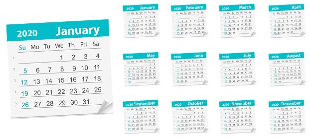 Calendar Leaf , year 2020. Vector Illustration. week starts on Sunday